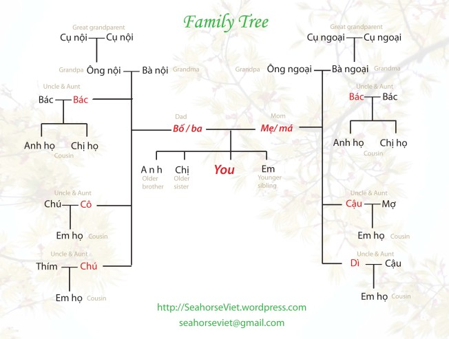 Vietnamese-English Family tree chart