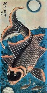 Cá chép trông trăng - Lý ngư vọng nguyệt (Vietnamese folk art - Tranh Đông Hồ)